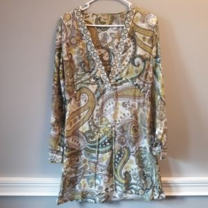 Athleta Green Paisley tunic or coverup Sz Md